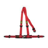 OMP Road 3 - points Safety Belts ECE, DA504 Red