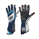OMP ONE EVO blue/grey Racing Gloves (FIA)