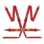 OMP TECNICA 6 - point Safety Belts red