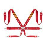 "Sabelt Safety Belts 6 - points Silver Saloon Rally 3"" Red (with homologation FIA)"