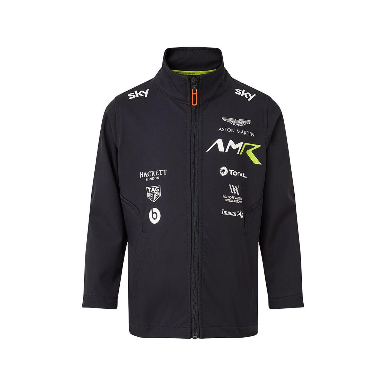 2020 Aston Martin Racing Kids Team Softshell Jacket Navy Blue Wind Jackets Kids Rallymerchandise Eu